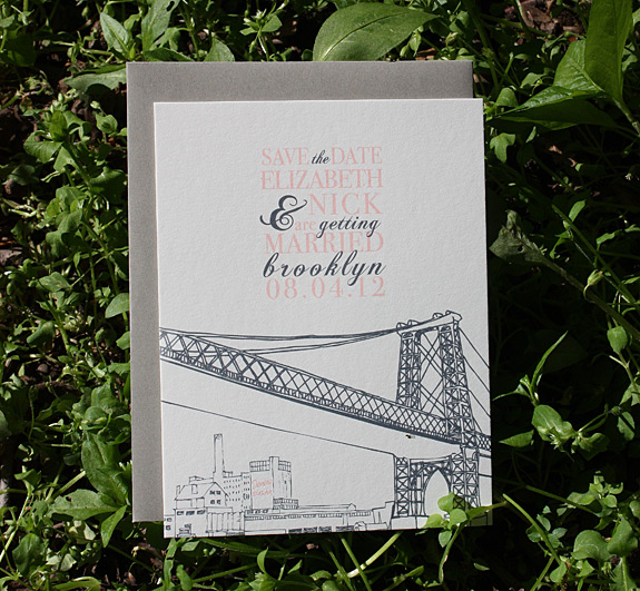 Elizabeth and Nick: Bedford save the date, digitally printed in charcoal and rosé inks