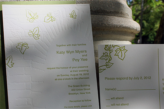 Katy and Poy: Foundry wedding invitation {custom} letterpressed blind and in willow and eggplant inks with moss envelope