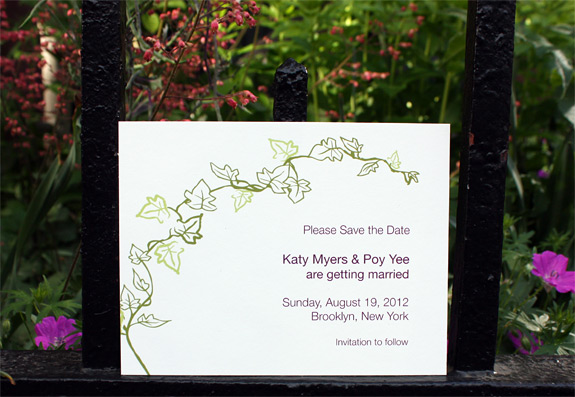 Katy and Poy: Foundry save the date digitally printed in moss, willow and eggplant inks