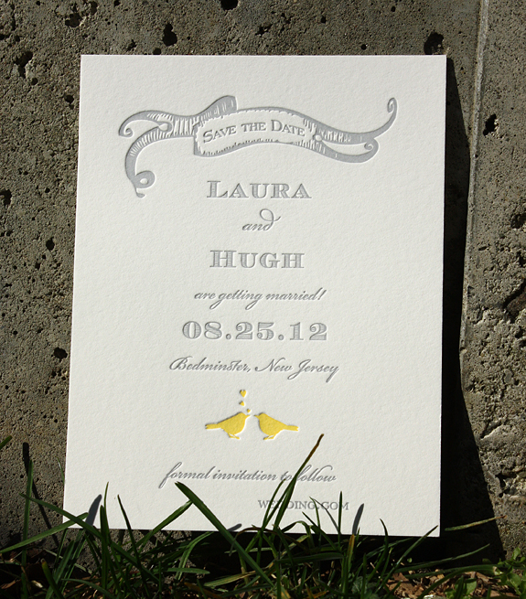 Laura and Hugh: Gramercy Park save the date {custom} with banner letterpress printed in squash and pewter inks