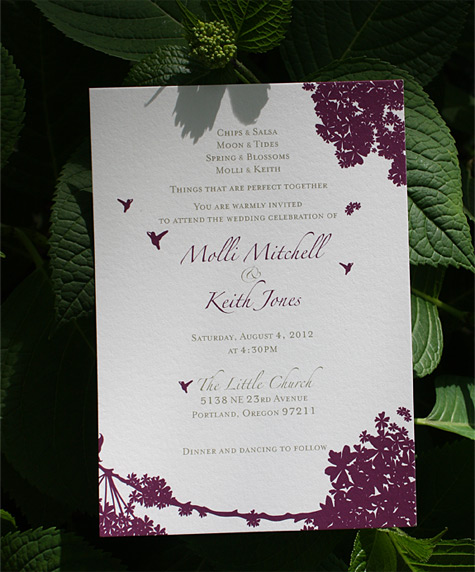 Molli and Keith: Prospect Park wedding invitation digitally printed in eggplant and gold inks