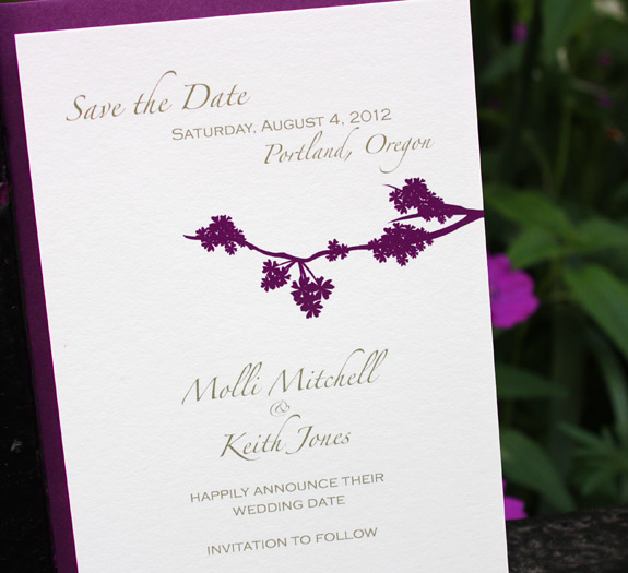 Molli and Keith: Prospect Park save the date digitally printed in eggplant and gold with beet envelope