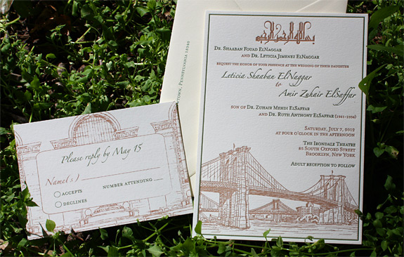 Leticia and Amir: Seaport and Grand Central Station, letterpressed invitation and digital reply card printed in moss and copper inks with Arabic text