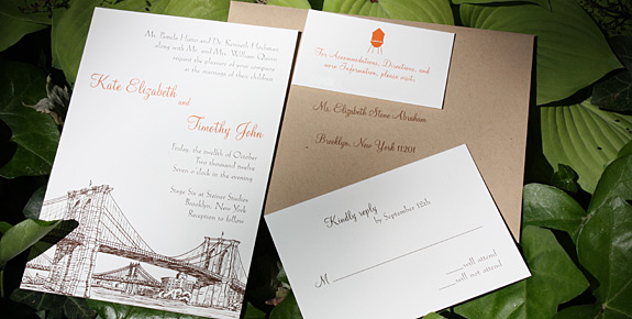 Kate and Timothy: Seaport and Montague St - Apt. W, digitally printed in pumpkin and chocolate with paper bag envelopes