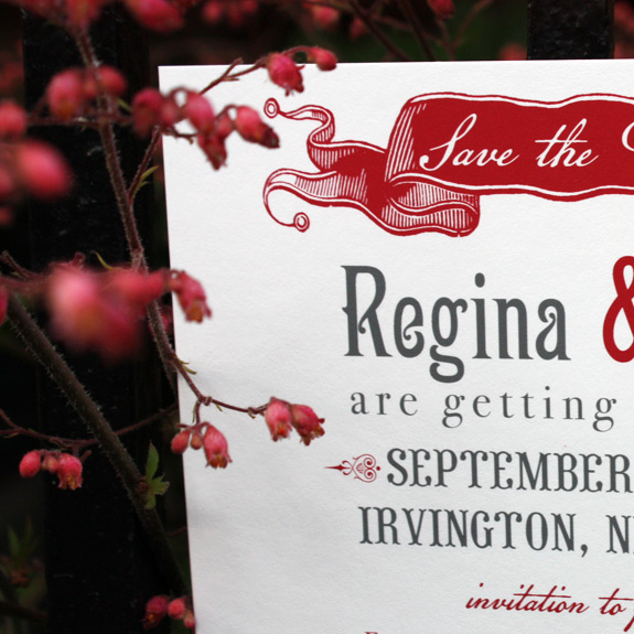 Regina and Paul: Washington Square save the date detail