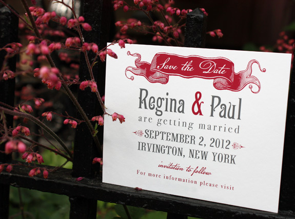 Regina and Paul: Washington Square save the date, digitally printed in charcoal and cranberry inks