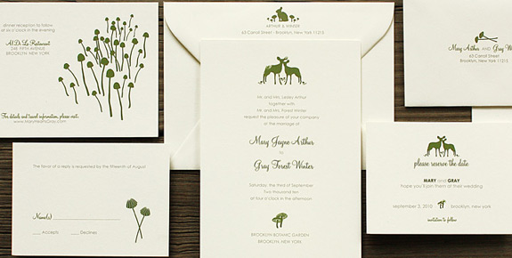 The Ramble: wedding invitation suite digitally printed in moss and pewter