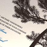 Missy and Ben: ecru card stock featuring a fir tree silhouette, 2 color letterpress