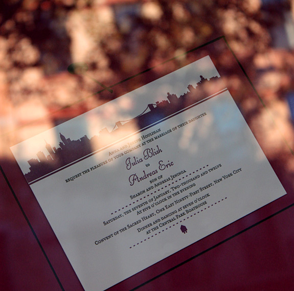 PostScript Brooklyn letterpress wedding invitation hanging in Lion in the Sun's window