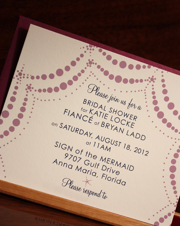 Katie: Boerum Hill, bridal shower invite printed in lavender and navy inks with beet envelope
