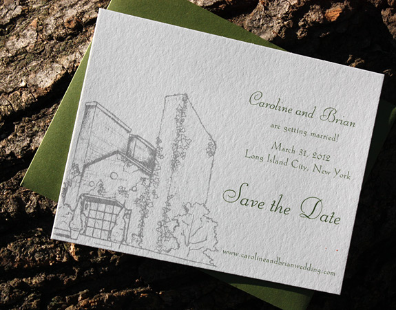 Caroline and Brian: Foundry, save the date, digitally printed in pewter and moss inks with moss envelope