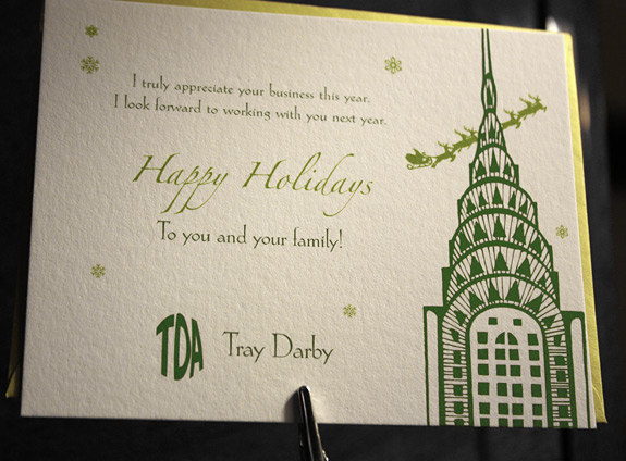 TDA: Chrysler Christmas in willow and moss with chartreuse envelope