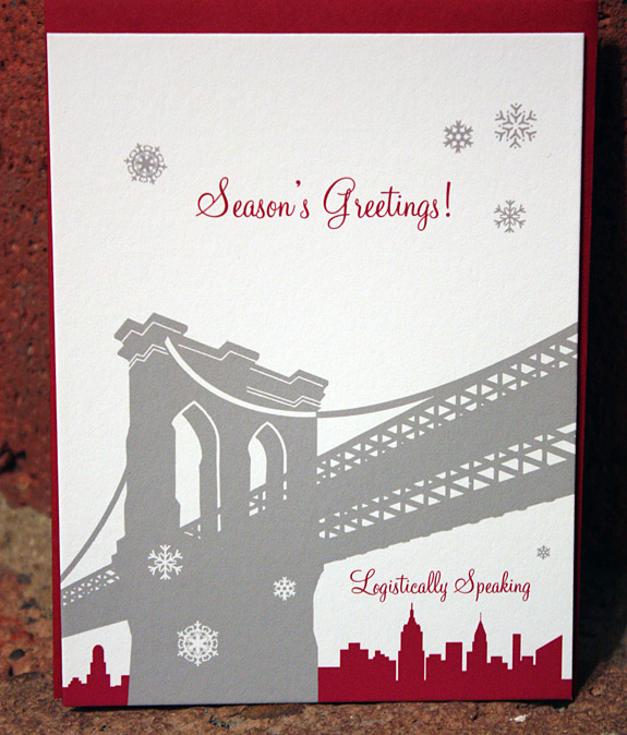 Logistically Speaking: Pineapple Street Holiday Card in pewter and cranberry with red envelope