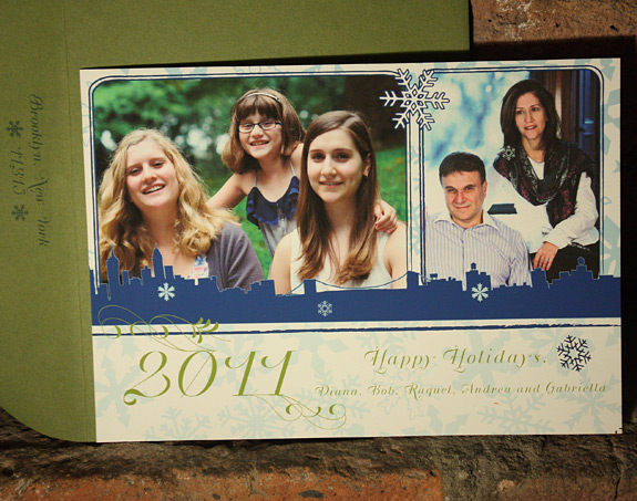 Diana, Bob and family: Riverside Drive Holiday Card in navy and willow inks with moss envelope