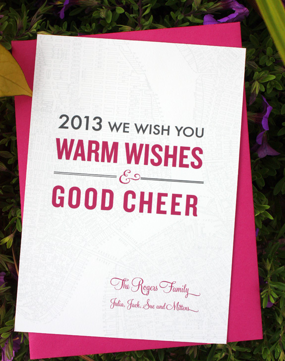 Liberty View Holiday, digitally printed in magenta, charcoal and nickel inks with fuchsia envelope