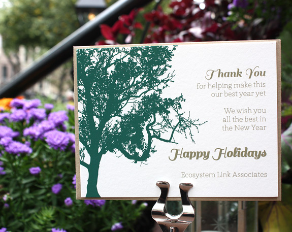 Lookout Hill Holiday, digitally printed in deep green and gold inks with paper bag envelope