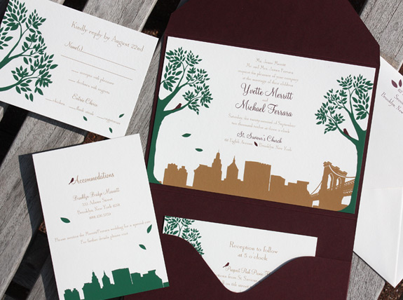 Yvette and Michael: Montague Street - Apt. B {custom}, digitally printed in copper, deep green and purple to match pocket folder