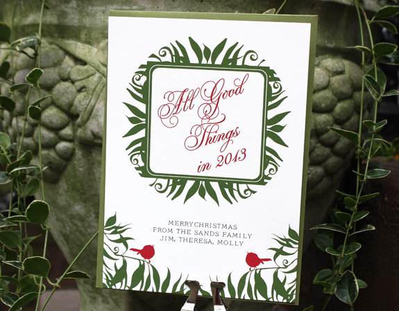 Nethermead Holiday, digitally printed in moss, red and black inks with moss envelope