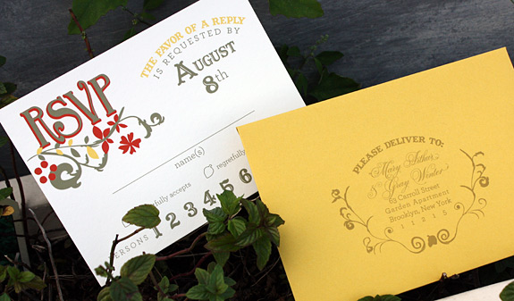The Ramble: rsvp card and envelope