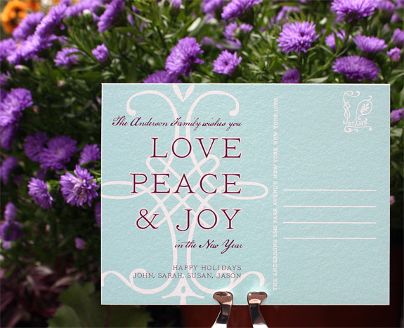Holiday Postcard, digitally printed in turquoise and eggplant inks