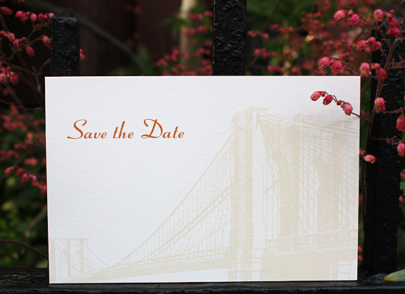 Aneta and Eric: Vinegar Hill, save the date postcard digitally printed in beige and pumpkin inks