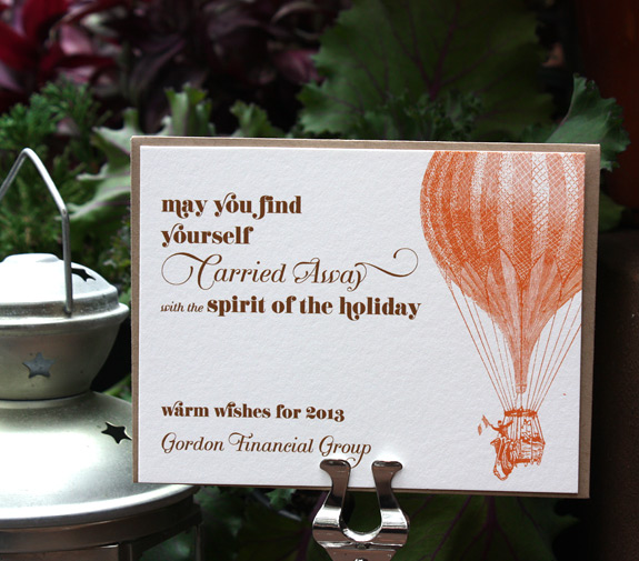 Vinegar Hill Holiday, digitally printed in chocolate and pumpkin inks with paper bag envelope