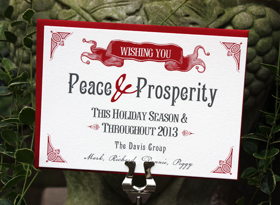 Washington Square Holiday, digitally printed in cranberry and charcoal inks with red envelope