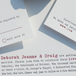 Deborah and Craig: two color letterpress invitation with typewriter font