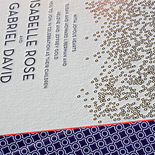 Isabelle and Gabriel: champagne bubble inspired, gold foil and navy letterpress with red edging