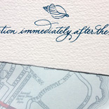 Kyra and Jesse: Hand calligraphed invitation on imported italian paper and custom map liner