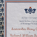 Samantha and Richard: folk art letterpress design on bamboo paper in navy and pumpkin inks
