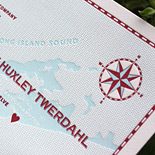 Valbona and Alexander: custom nautical illustrations letterpressed in light blue and red, rounded corners