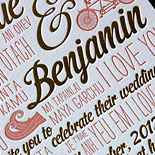 Veronique and Benjamin: Gold foil and coral letterpress with fun motifs and a heart layout on the rehearsal dinner card. Bella Figura Design Contest Winner 2012