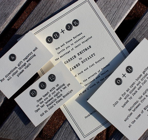 Elizabeth and Alexander: Degraw Street, invitation letterpress printed and other enclosure cards digitally printed