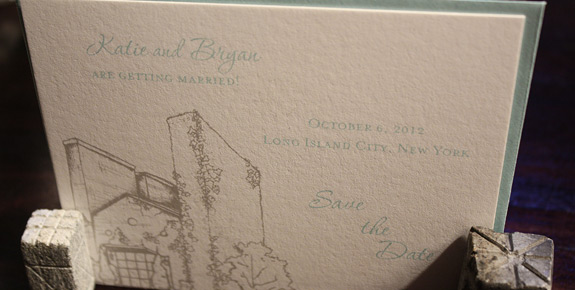 Katie and Bryan: Foundry, save the date digitally printed in pewter and turquoise