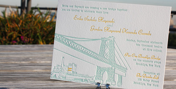 Erika and Gordon: Bedford letterpress printed in squash and turquoise inks on soft white paper