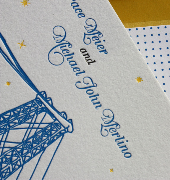 Melissa and Michael: letterpressed wedding invitation detail and polka dot liner