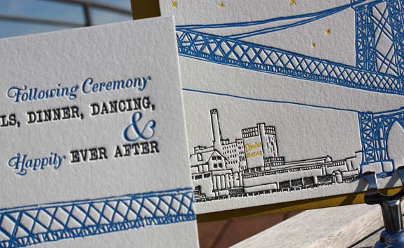 Melissa and Michael: letterpressed wedding suite detail