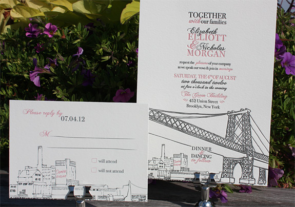 Elizabeth and Nicholas: Bedford, invitation letterpressed, reply card digitally printed in charcoal and rosé