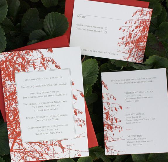 Barbara and Lois: Central Park, digitally printed in persimmon and gold with persimmon envelopes