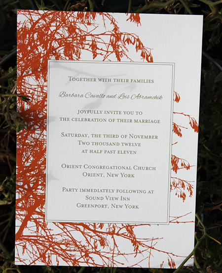 Barbara and Lois: Central Park wedding invitation
