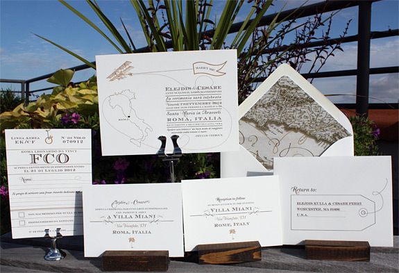 Elejdis and Cesare: Come Fly with Me, dual language wedding invitation suite digitally printed in chocolate and copper inks, with custom map liner