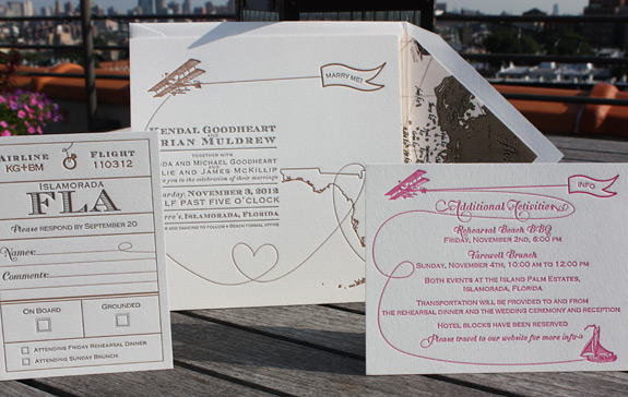 Kendal and Brian: Come Fly with Me {custom} with invite printed on square card stock and Florida map liner.  Letterpress printed in espresso, copper and magenta inks for Florida destination wedding.