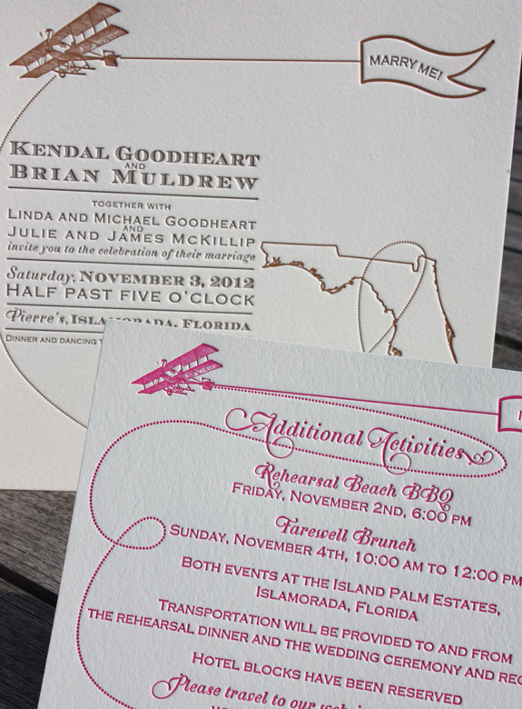 Kendal and Brian: invitation and Additional Activities card