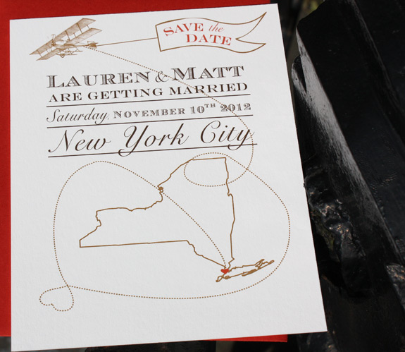 Lauren and Matt: Come Fly with Me save the date featuring map of New York State, digitally printed in copper, chocolate and persimmon inks, with persimmon envelopes
