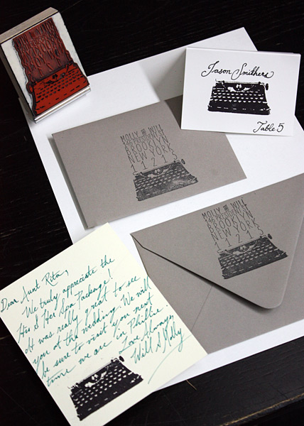 PostScript Brooklyn Degraw Street Typewriter Rubber Stamp