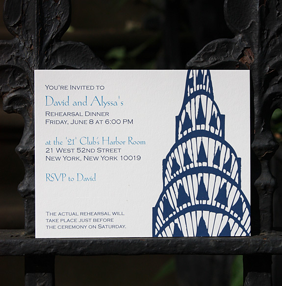 Alyssa and David: Lexington Avenue rehearsal dinner invitation, digitally printed in navy and royal inks