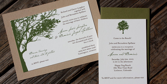Karen and Dominic: Lookout Hill digitally printed in moss and espresso with paper bag and moss envelopes