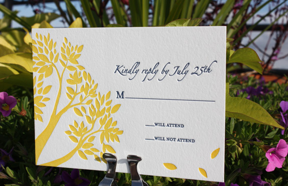 Emily and Ryall: rsvp card