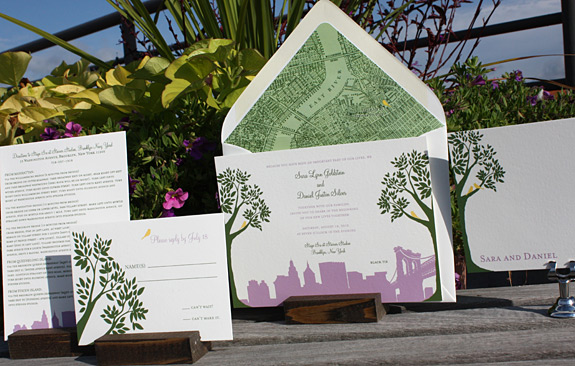 Sara and Daniel: Montague Street - Apt. B {custom} digitally printed in moss, squash and custom colors inks with map of East River liner